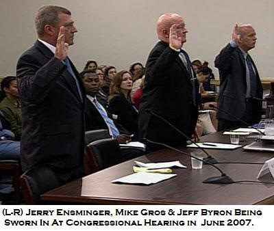 (L to R) Jerry Ensminger, Mike Gros & Jeff Byron being sworn in at a Congressional Hearing on Camp Lejeune on June 12, 2007. All three men are members of The Few, The Proud, The Forgotten and spoke on behalf of all of the victims of the Camp Lejeune water contamination.